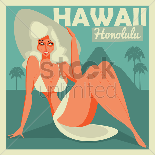 hawaii retro design vector graphic