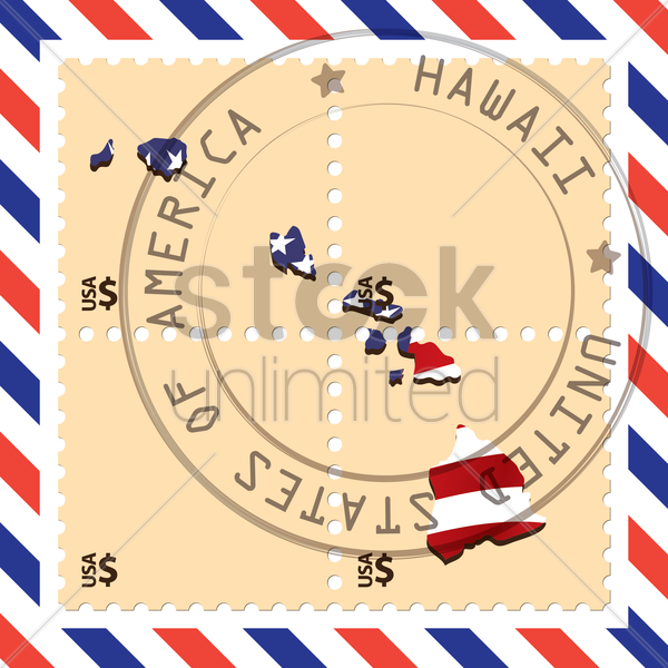 hawaii stamp vector graphic