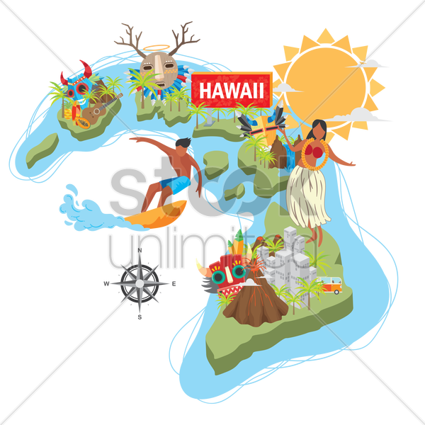 hawaii state map vector graphic