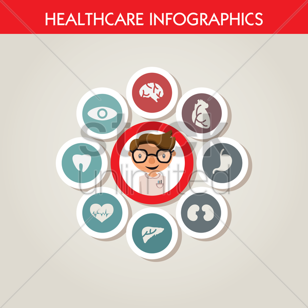 Free healthcare infographics vector graphic