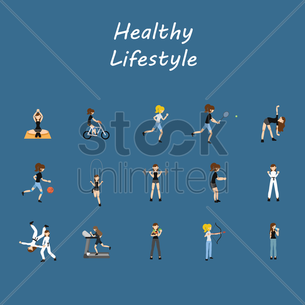 Free healthy lifestyle icons vector graphic