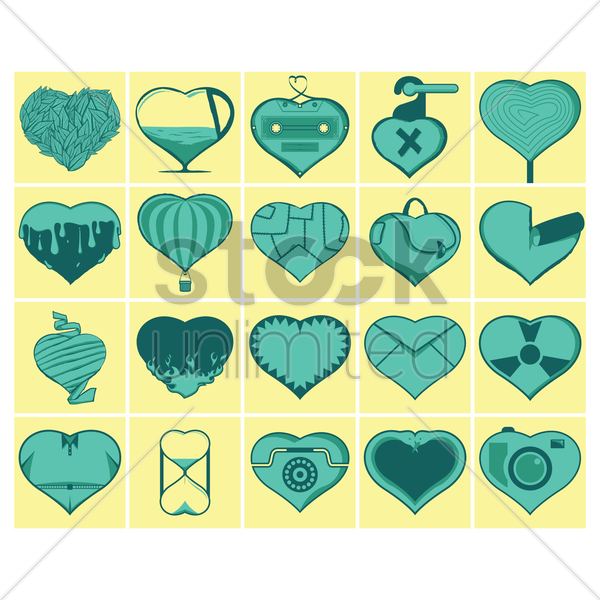 heart icons vector graphic