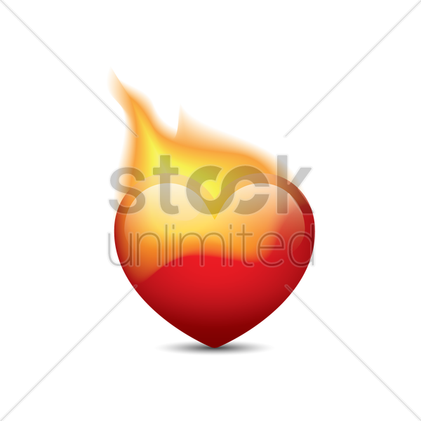 heart on fire vector graphic