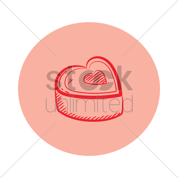 heart shape chocolate box vector graphic