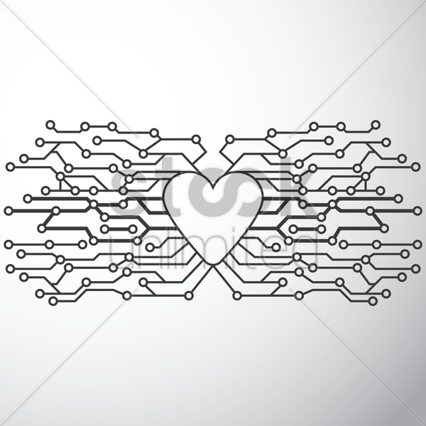 heart shape circuit design vector graphic