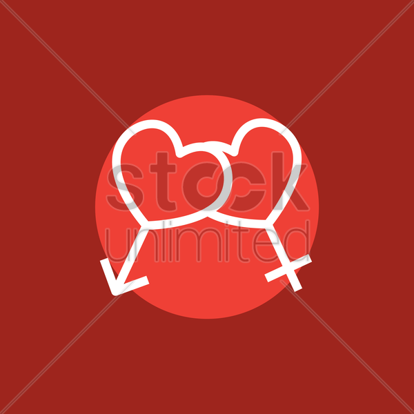 heart shaped male and female symbol vector graphic