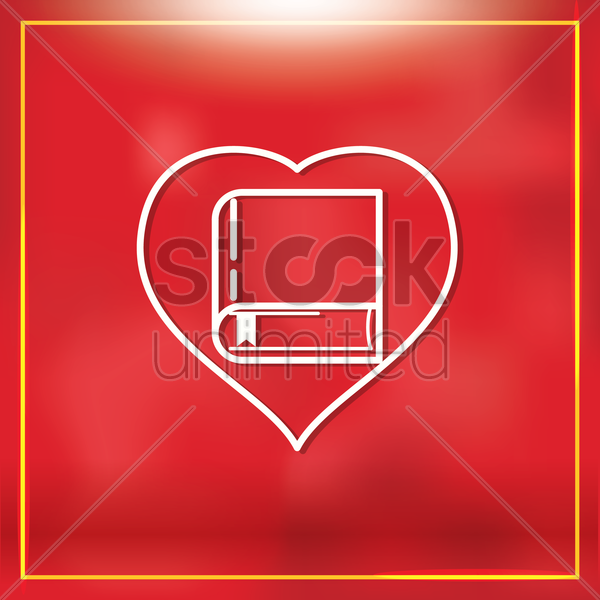 heart with book vector graphic