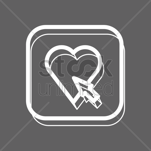 heart with cursor icon vector graphic