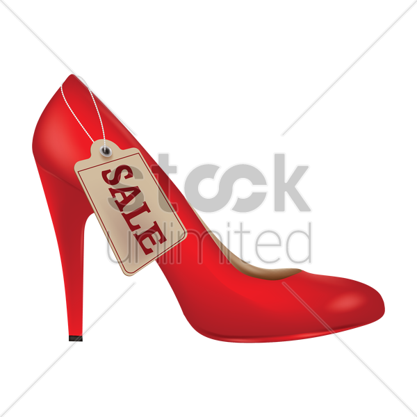 high heel shoes with sale tag vector graphic
