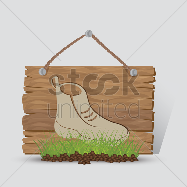 hiking boot sign vector graphic