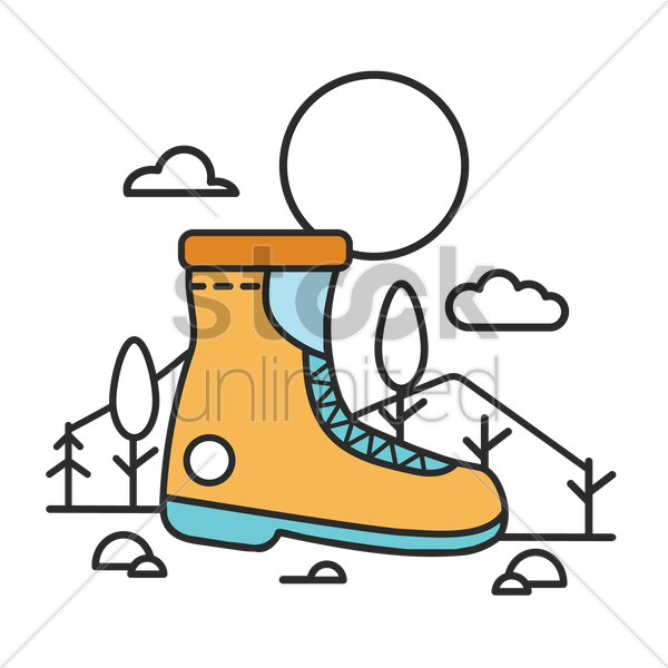 hiking boot vector graphic