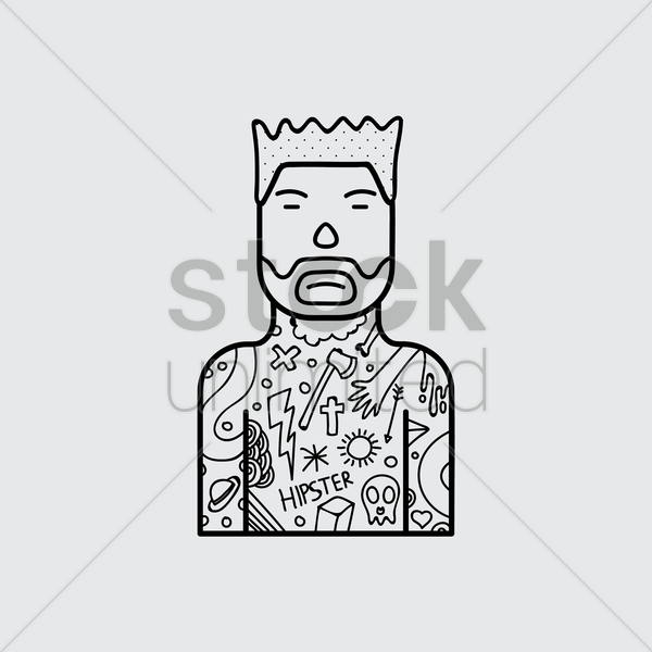 hipster character with tattoo vector graphic