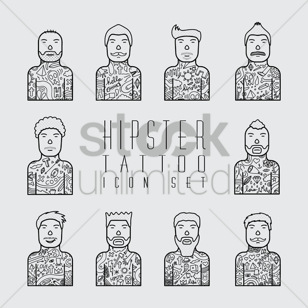 hipster tattoo icon set vector graphic