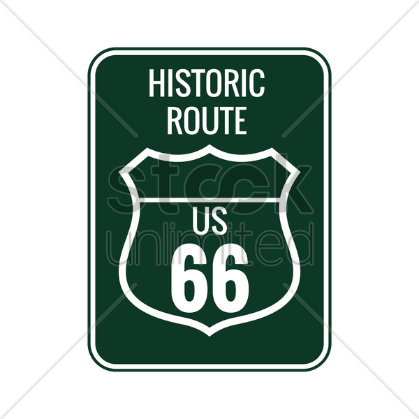 historic route 66 sign vector graphic