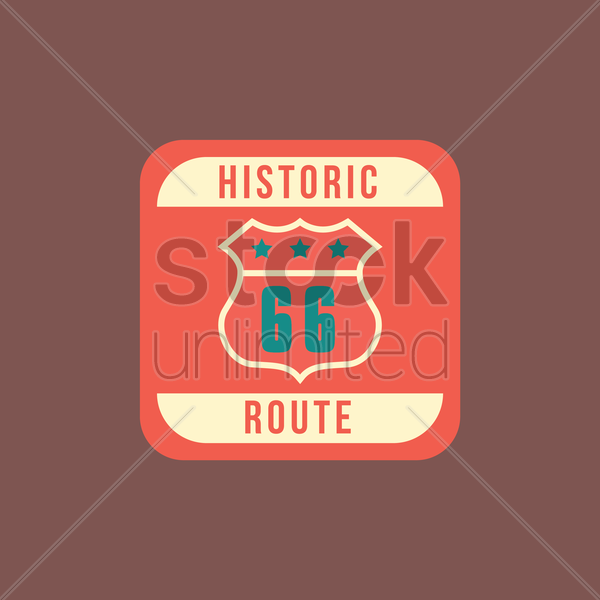 historic route 66 vector graphic
