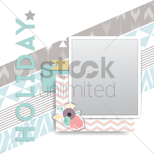 holiday card with photo frame vector graphic