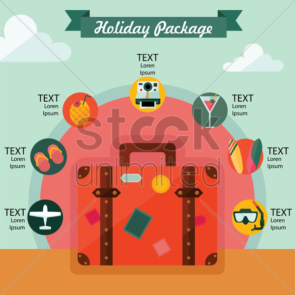 holiday package infographic vector graphic