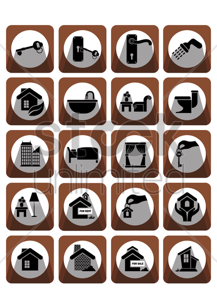 home and interior icons vector graphic