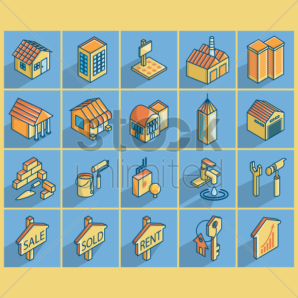 home and real estate elements vector graphic