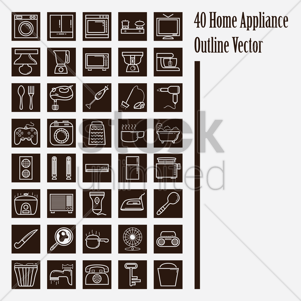 home appliance icons vector graphic