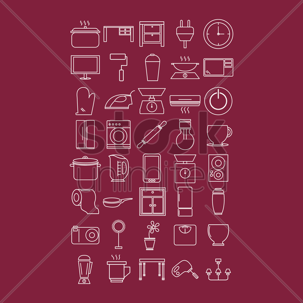 home appliances and kitchenware vector graphic