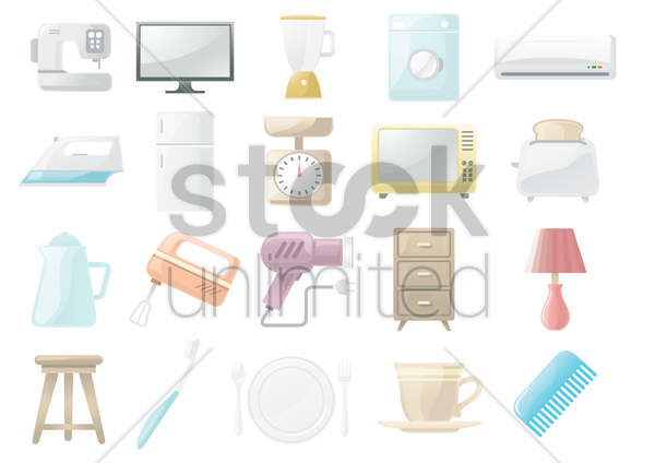 home appliances and objects vector graphic