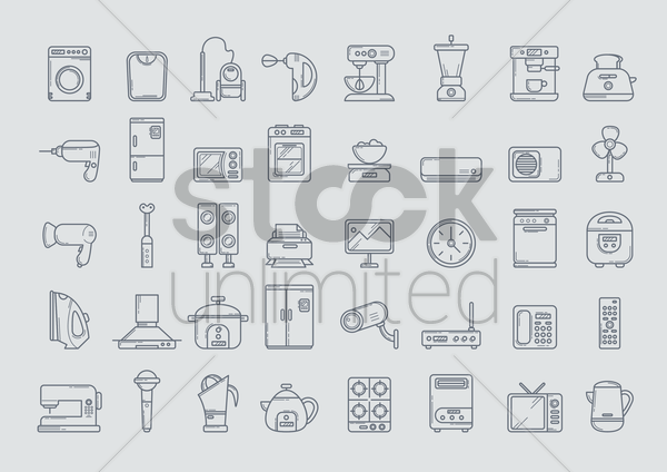 home electrical appliance vector graphic