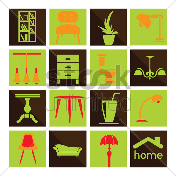 home furniture and accessories collection vector graphic