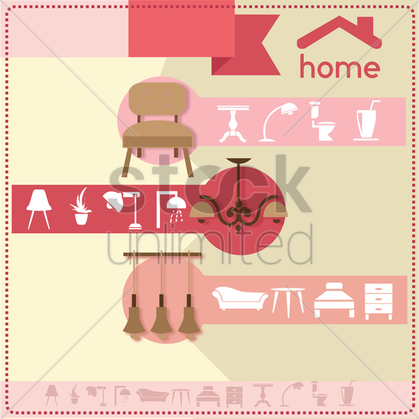 home furniture and accessories design template vector graphic
