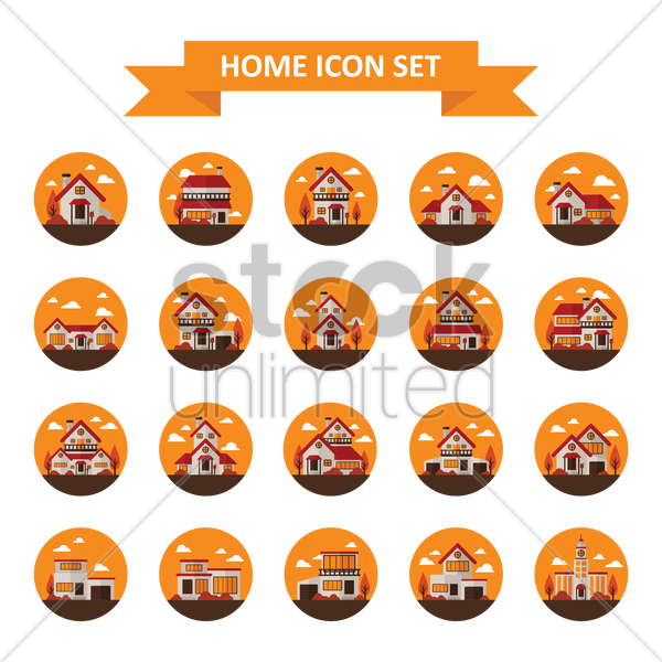 Free home icon set vector graphic