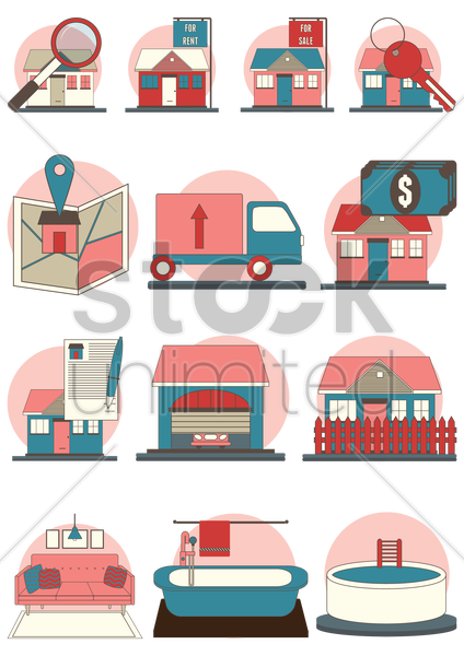 home icon set vector graphic