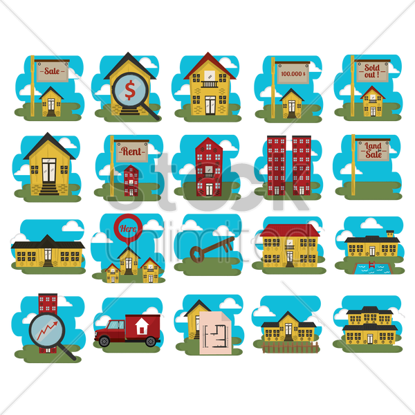 home icons vector graphic