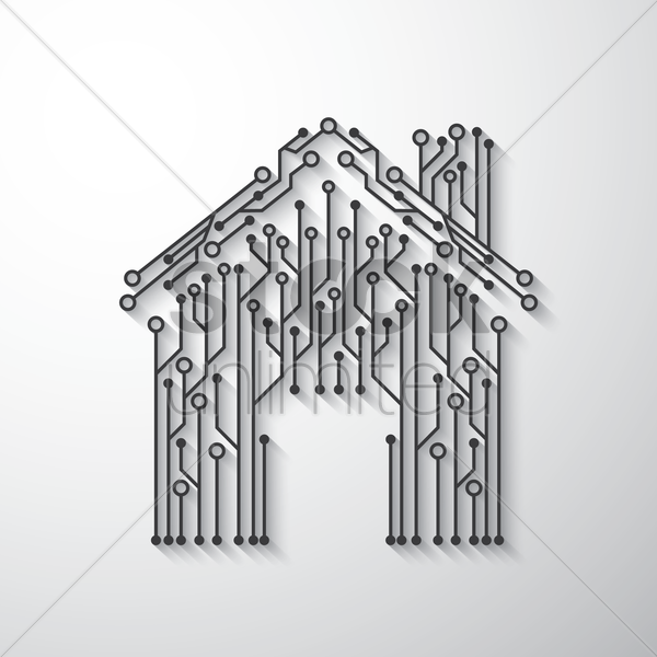 home shape circuit design vector graphic