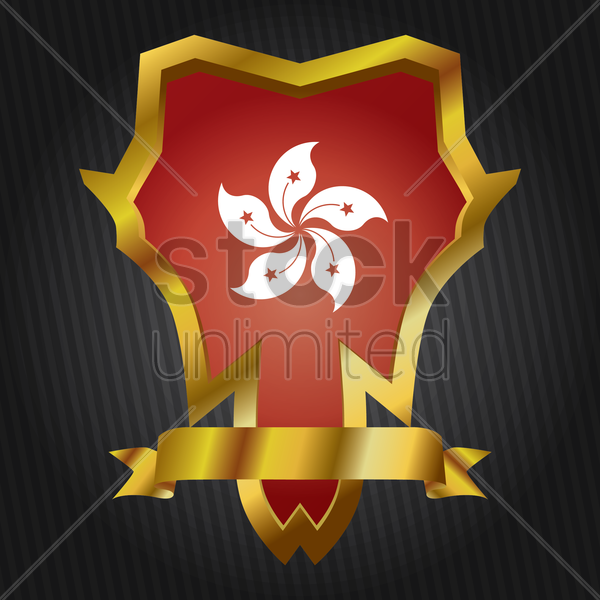 hong kong flag badge vector graphic
