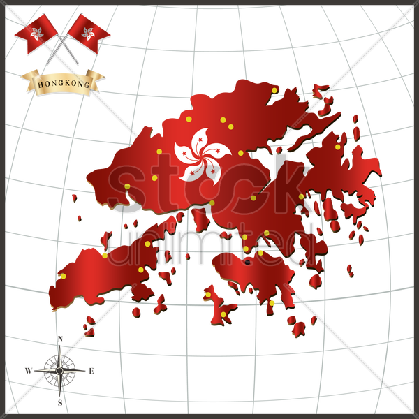 hong kong flag map vector graphic