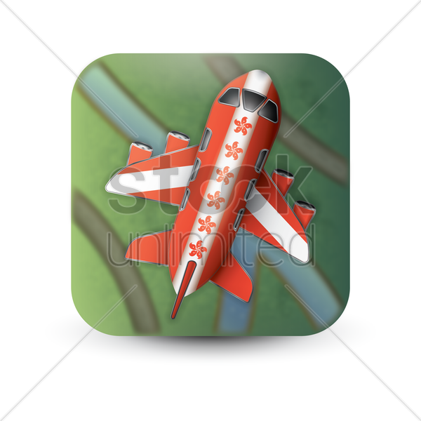hong kong flag on airplane vector graphic