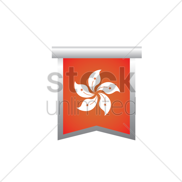 hong kong flag pennant vector graphic