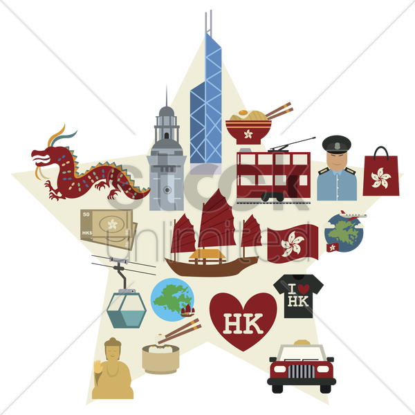 hong kong icon set vector graphic