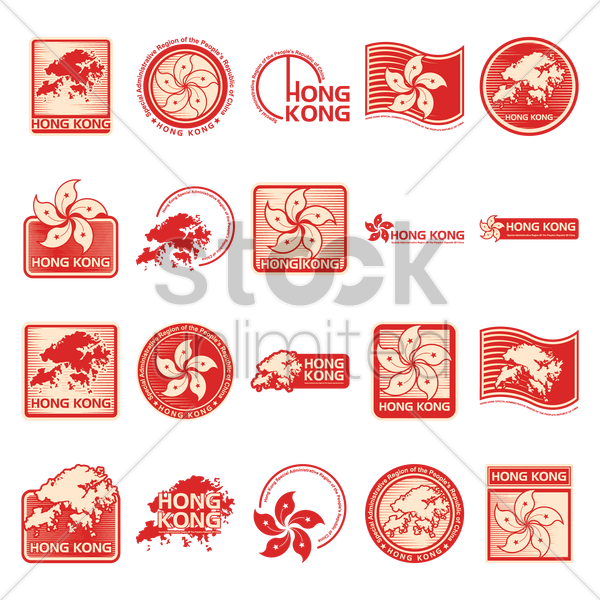 hong kong label and stamp set vector graphic