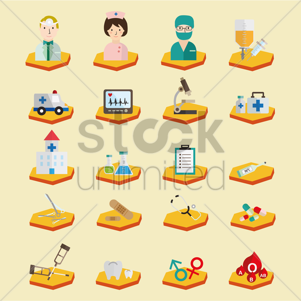 hospital icon set vector graphic