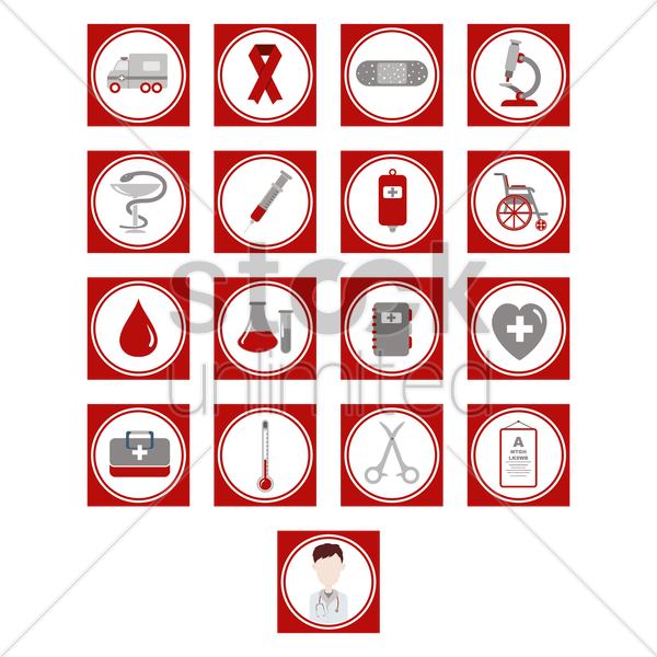 hospital icons vector graphic