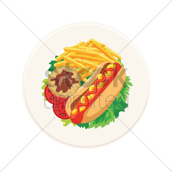 hot dog with mashed potato and french fries vector graphic
