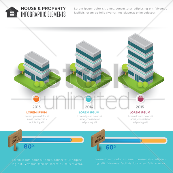 house and property infographic elements vector graphic