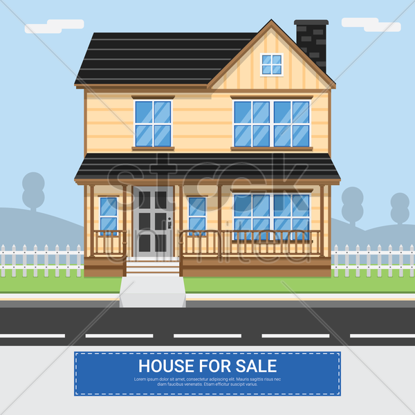 house for sale vector graphic