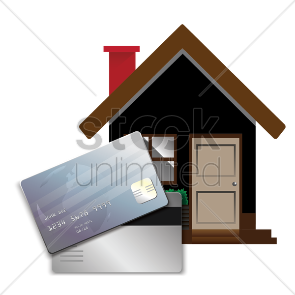 house with banking card vector graphic
