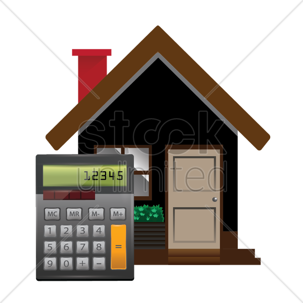house with calculator vector graphic