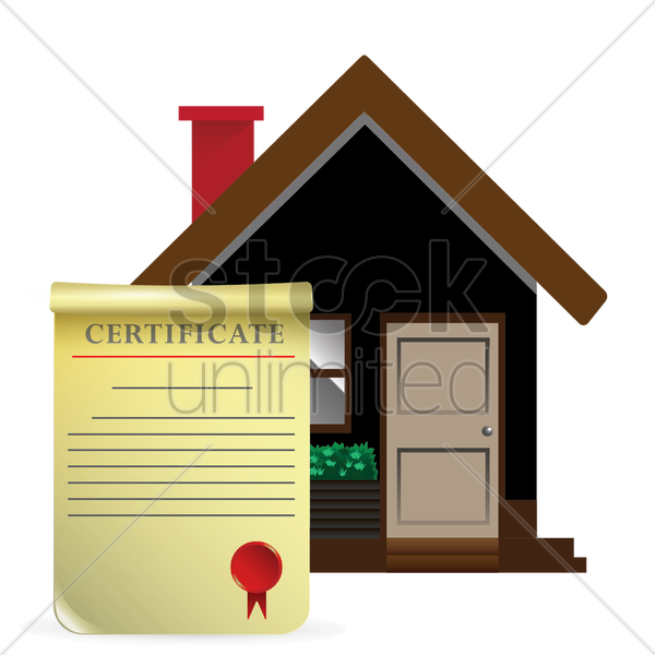 house with certificate vector graphic