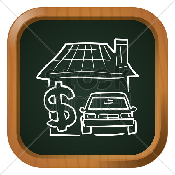 house with dollar and car icon vector graphic
