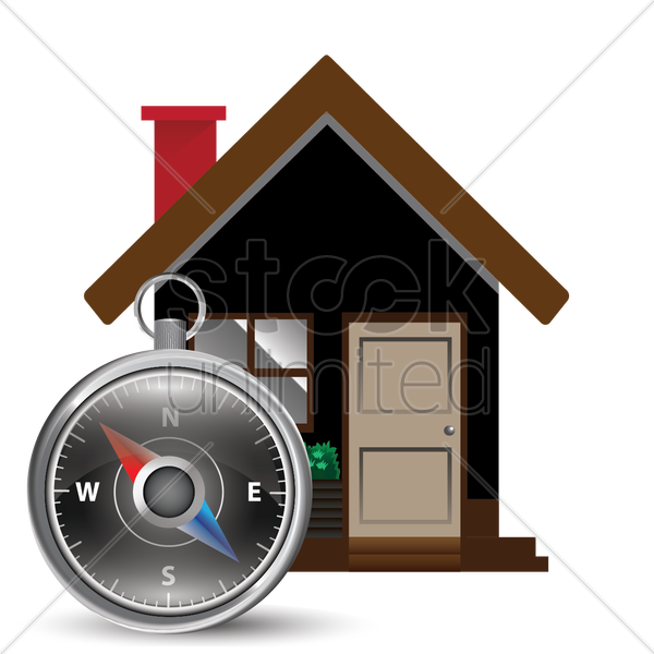 house with navigation pointer vector graphic