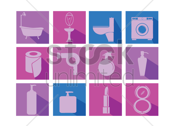 household, body care and cosmetic icons vector graphic